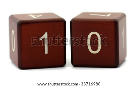 Wood cubes with number ten isolated on white background - stock photo