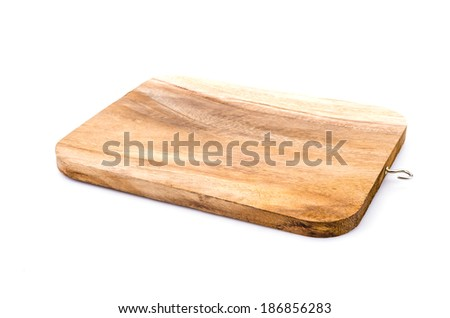 Wood cutting board isolated white background