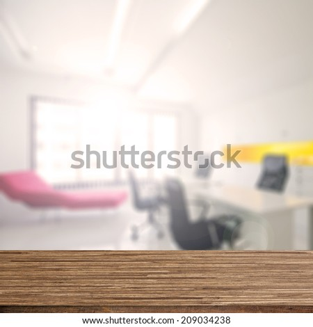 Wood desk decoration with Office Working Area background - stock photo