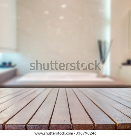 Wood Desk Space And Bathroom Background For Product Presentation