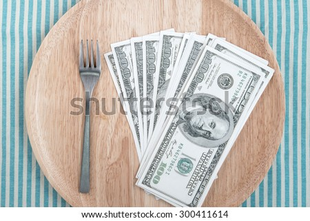 wood dish With US One Hundred Dollar Bills