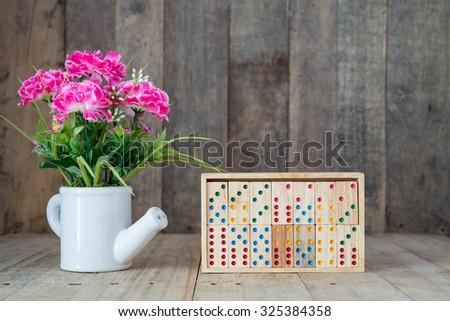 Wood domino game - stock photo