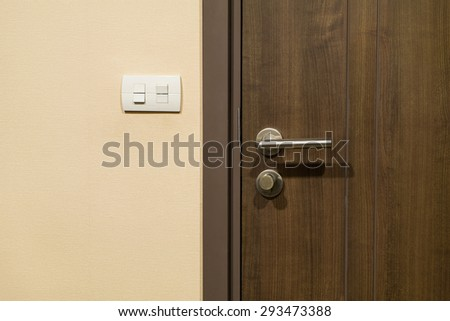 wood door and handle