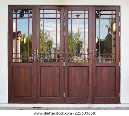 Wood door asian style with glass - stock photo