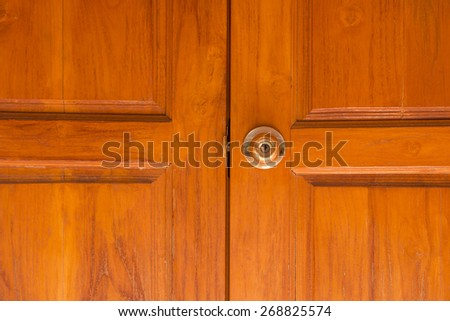 Wood door in the temple - stock photo