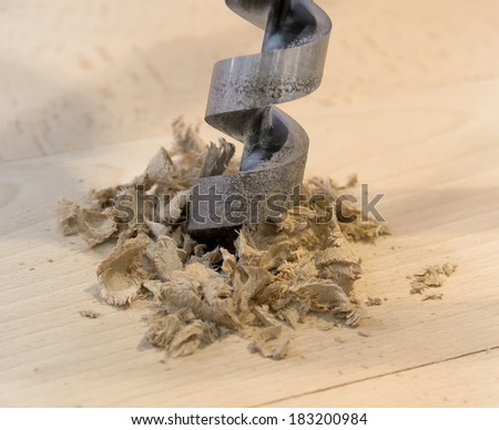 Wood drill - stock photo