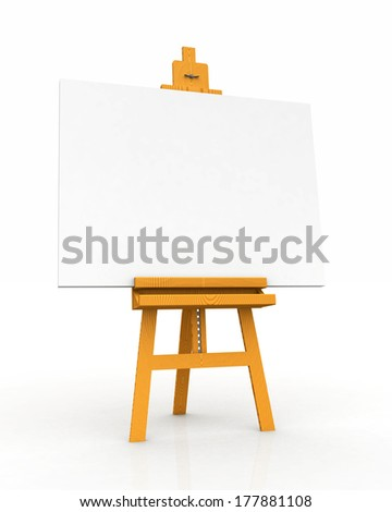 wood easel with canvas