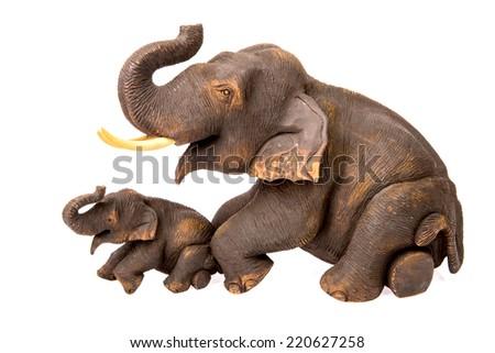 wood elephant in isolated on white background - stock photo
