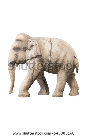 Wood elephant sculpture on white background