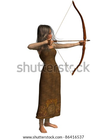 Wood elf archer girl with bow and arrow, 3d digitally rendered illustration isolated on white