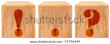 Wood engraved and stained alphabet blocks.  Punctuation marks. ! ? . period, exclamation mark, question mark. - stock photo
