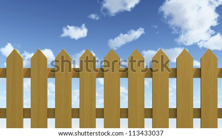 Wood Fence and Blue Sky - High quality Render