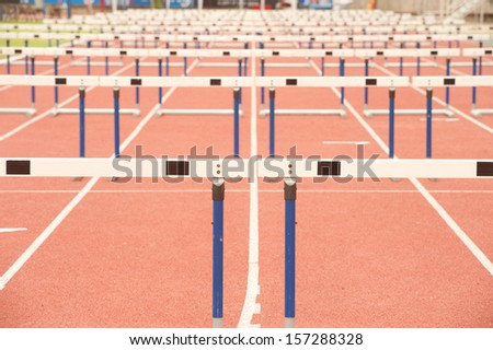 Wood fence for Hurdles. - stock photo