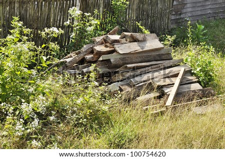 Wood Firewood Grass Garden Old Country - stock photo