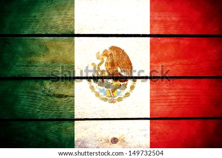 wood flag of Mexico - stock photo