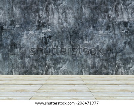 Wood floor and concrete wall background
