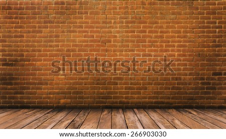 Wood floor and red brick wall background