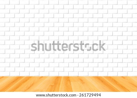 wood floor and white brick wall background - stock photo