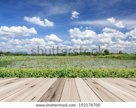 Wood floor beside the lake of the blue sky background. - stock photo