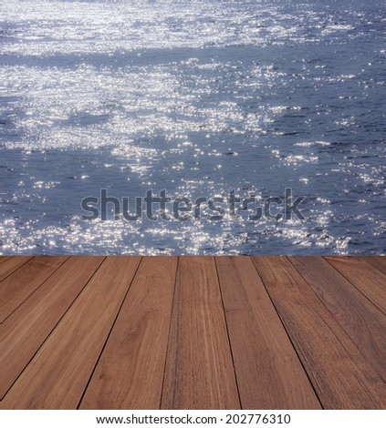 wood floor on water - stock photo