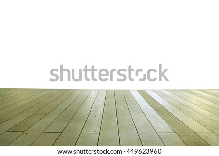 Wood floor texture in light color tone isolated on white background. nature good Perspective warm wooden floor texture. Empty room with wall and wooden floor. Art Wood Design Element Painted 9 - stock photo