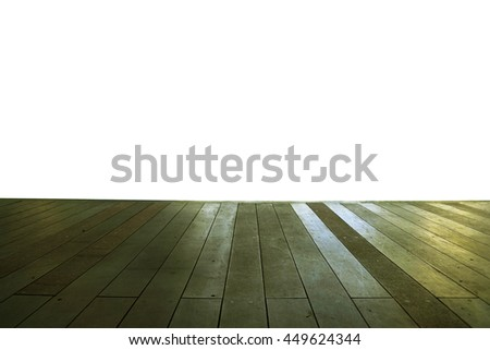 Wood floor texture in light color tone isolated on white background. nature good Perspective warm wooden floor texture. Empty room with wall and wooden floor. Art Wood Design Element Painted 13 - stock photo