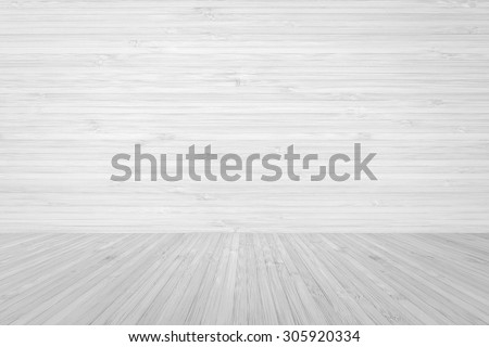 Wood floor textured patterned background with white wooden backdrop in light white grey color tone: Isolated wooden floor and horizontal interior wall patterned in light white grey colour tone   - stock photo