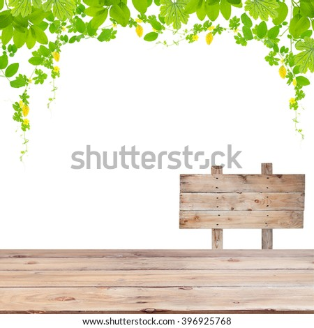 Wood floor with Green leaves frame isolated on white background - stock photo