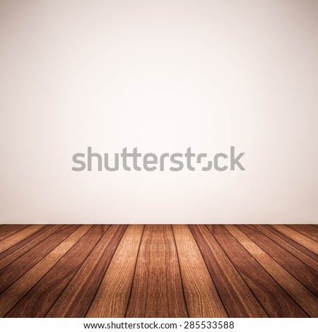 wood floor with white wall - stock photo
