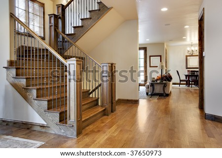 Wood Floored Home Entrance and Hall - stock photo