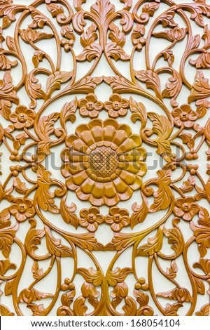 wood floral art decoration background - stock photo