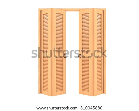 wood folding door with grill ,3d - stock photo