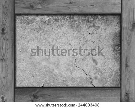wood frame border and stone wall texture background - stock photo