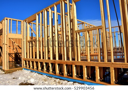 Wood Frame Building Under Construction Stock Photo (Royalty Free ...