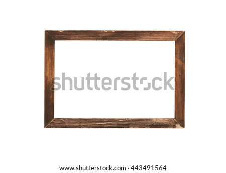 wood frame isolate on white background,with clipping path
