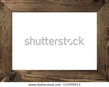 wood frame isolated inside old dark brown planks