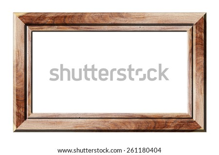 Wood frame isolated on white background - stock photo