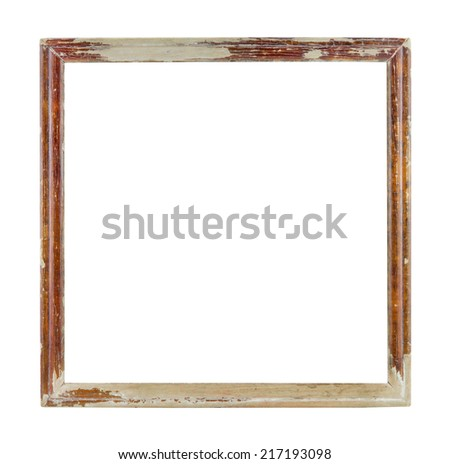 Wood frame isolated on white,old and ancient