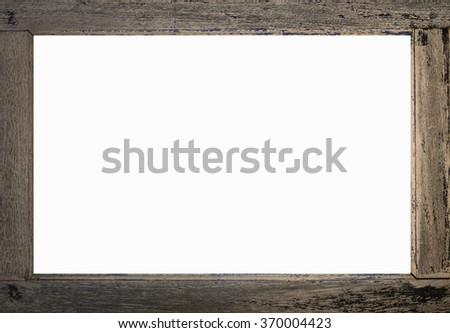 wood frame isolated on white old plank