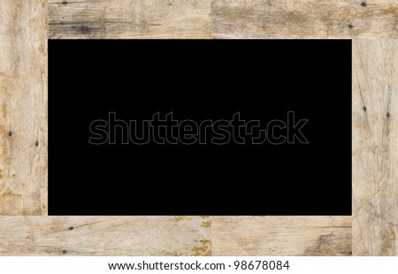 Wood frame on black background, space for text