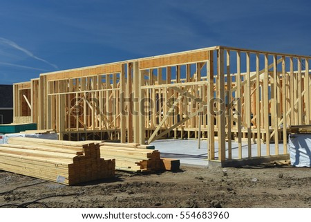 Wood Frame Residential Construction Site Stock Photo (Royalty Free ...