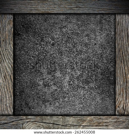 wood frame with black background - stock photo
