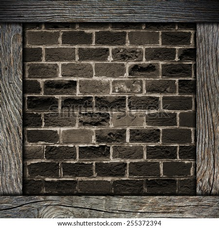 wood frame with brick wall - stock photo