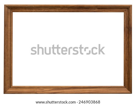wood frame with clipping path on isolated white - stock photo