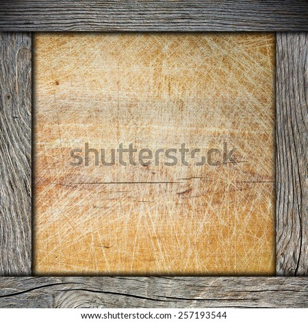 wood frame with cutting board - stock photo