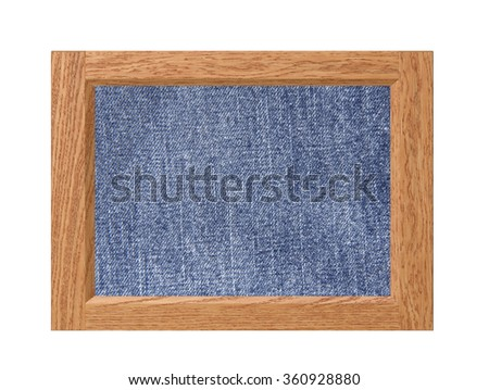 Wood frame with jeans texture isolated on white background - stock photo