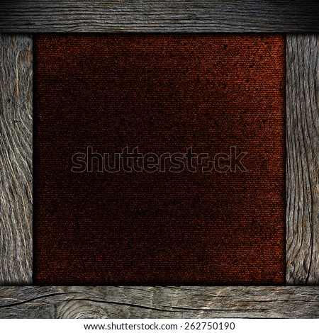 wood frame with red paper - stock photo