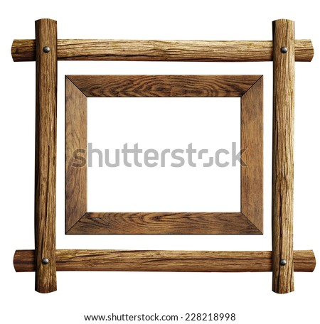 Wood frames set isolated on white - stock photo