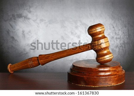 Wood gavel and soundblock - stock photo