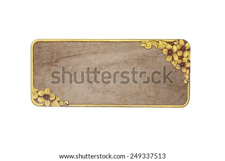Wood  golden frame isolated on white background